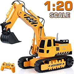 { Detailed and realistic } DOUBLE E professional heavy duty excavator toy is the most realistic replica of a construction excavator. Built on a 1: 20 scale, powerful motors and heavy rubber track tires to achieve all playing functions. { 3 separate m...
