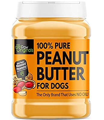 Peanut Butter For Dogs & Puppy - Only Brand With No Added Oil! - No Sugar, Salt, Xylitol - 100% Pure Formulated Treat For Dogs - 100% Protein, Wheat & Gluten Free - Dog Friendly Paste - 340g