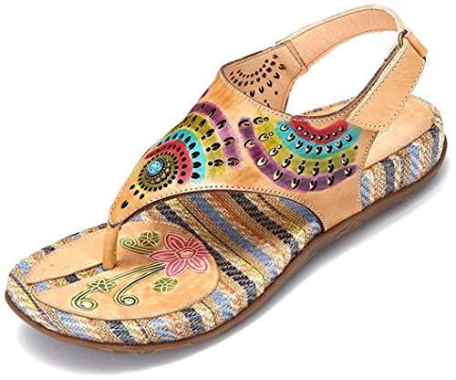 gracosy Sandalias Cuero Verano Mujer Estilo Bohemia Chanclas Zapatos para Mujer Slip-On de Dedo Sandalias Talla Grande 37-42 Beige Rojo Azul Flores Romanas de Hecho a Mano Los Tacones Bajos Zapatos