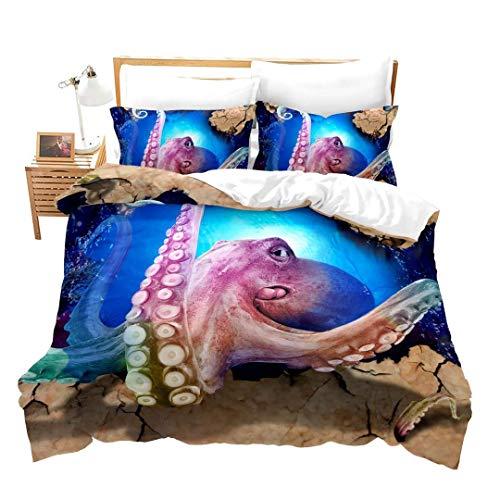 Erosebridal 3 Pcs Octopus Bedding Set 3D Duvet Cover Sets Octopus Pattern Soft Microfiber Comforter Coverfor Ocean Theme Quilt Cover for Kids Teens Girls Boys Adults, Blue Purple, Queen Size