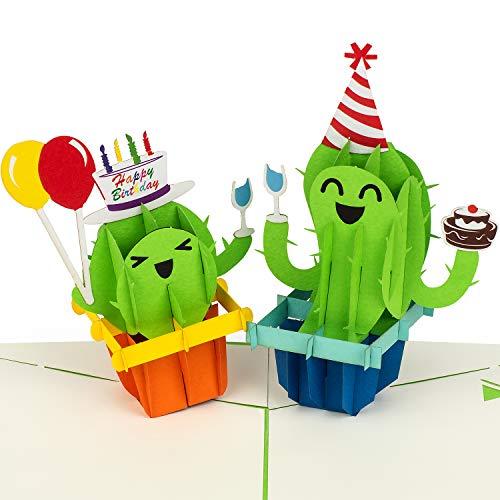 """PaperCrush® Pop-Up Karte Geburtstag """"Happy Birthday Kakteen"""" - Lustige 3D Geburtstagskarte für Kinder (Mädchen, Junge) - Witzige Glückwunschkarte für Kindergeburtstag, Popup Karte zum Geburtstag"""