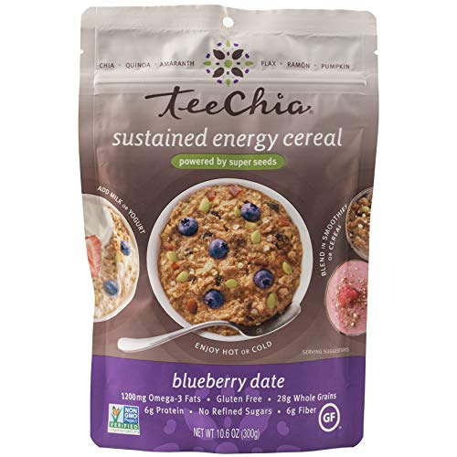 TeeChia Organic Super Seeds Cereal - Blueberry Date – Nutrient Dense Instant Breakfast  No Sugar Added   Gluten Free   High in Fiber   High in Protein   Non-GMO, 10.6 Ounce (Pack of 2)