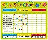 Non Branded Indigo Worldwide - Tabla de Estrellas/recompensas (para hasta 3 niños, en inglés) Pizarra rígida de 40 x 32 cm con Sistema de suspensión.