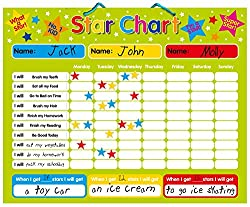Magnetic Reward / Star / Responsibility / Behavior Chart for up to 3 Children