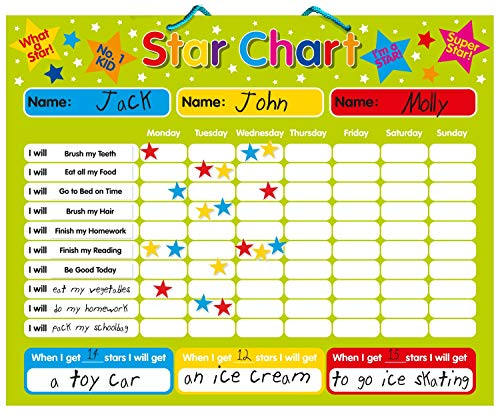Magnetic Reward / Star / Responsibility / Behavior Chart for up to 3 Children. Rigid board 16' x 13' (40 x 32cm) with