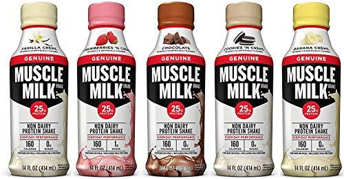 Muscle Milk Genuine Non Dairy Protein Shake, 5 Flavor Variety Pack, 25g Protein, 14 FL OZ (Pack of 10)