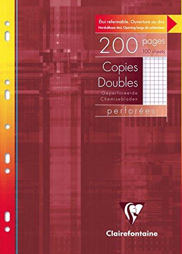 Clairefontaine 47122C - Un étui carton 200 pages Copies doubles perforées 21x29,7 cm 90g petits carreaux avec marge