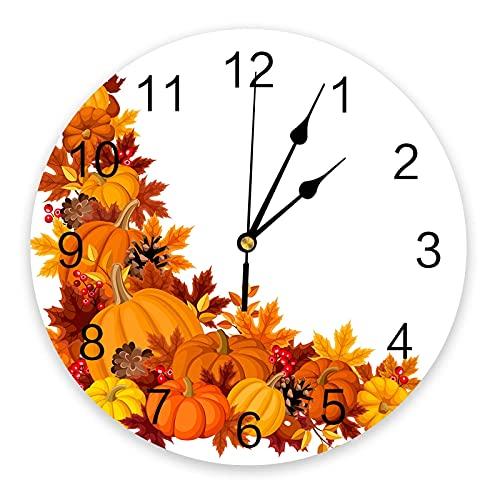 Reloj de Pared Otoño Acción de Gracias Calabaza Hojas de Arce Reloj de Pared Diseño Moderno Decoración para el hogar Reloj de Pared silencioso Decoración para Sala de Estar Reloj de Pared