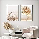 agwKE2 Moderne séché Hortensia Fleurs plantes Vague Vie citations mur Art Photo Toile peinture Poste Imprime pour Salon décor à la Maison 40x60cmx2 unframed