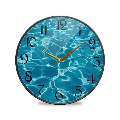 ART VVIES Reloj de Pared Redondo de 12 Pulgadas sin tictac silencioso operado por batería Oficina Cocina Dormitorio Decoración para el hogar-Ocean Wave