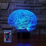 3D Brain Night Light Control remoto con alimentación USB Interruptor táctil Decoración Lámpara escritorio mesa 7/16 Luces que cambian color Lámpara mesa LED Xmas Home Love Brithday Niños Decoración