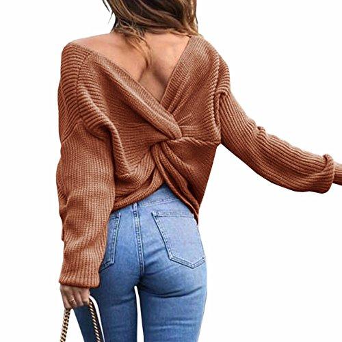 EMMA Damen Herbst Winter Sexy Casual V-Ausschnitt Pullover Loose Rückenfrei Fledermaus Batwing Rücken Kreuz Lange Ärmel Sweater Stricken Pullover, Kaffee, One Size
