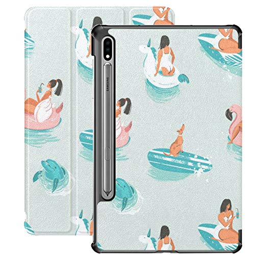 Estuche para Galaxy Tab S7 Estuche Delgado y liviano con Soporte para Tableta Samsung Galaxy Tab S7 de 11 Pulgadas Sm-t870 Sm-t875 Sm-t878 2020 Versión, Dibujos Animados Dibujados a Mano Verano Vecto