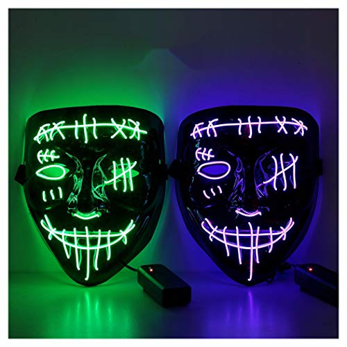 Halloween Scary Mask LED Mask LED Purge Mask [2PACK] LED Light Up Mask EL Wire Light Up for Festival Cosplay Halloween Costume Halloween Festival Party. Purple Green