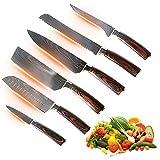 Nueva gama de cuchillos de chef japoneses en acero al carbono VG-10 - Tipo Santoku - Cuchillos de cocina profesionales de alta gama - Artesanía japonesa