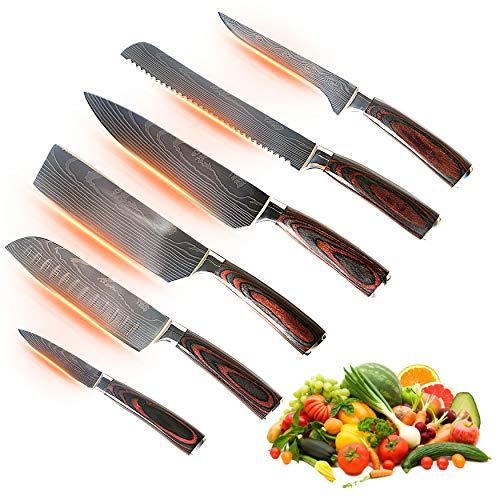 Jikko® Japanisches Messer Set Damaststahl VG-10 - Küchenmesser set high-end- Kochmesser mit scharfen Klingen und ergonomischen Griffen