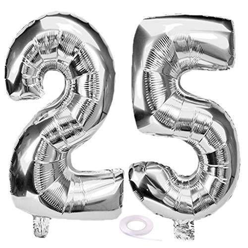 SNOWZAN Luftballon 25. Geburtstag Silber Mädchen Junge Zahl 25 Riesen Folienballon Helium Nummer 25 Luftballon Große Zahlen 25 Jahre XXL 25. Happy Birthday 32 Zoll Riese Zahl 25Geburtstag für Party