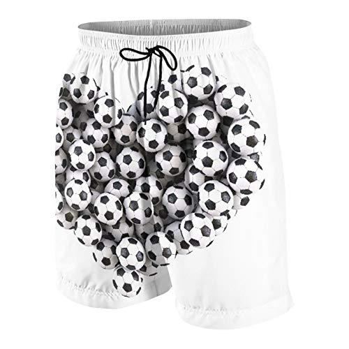 Traje de baño Personalizado para Hombre,corazón de los balones de fútbol Aislado en Blanco,Ropa de Playa Trajes de baño Shorts de baño Trajes de baño L