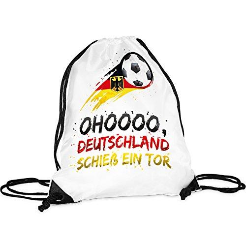 Tassendruck WM-Turnbeutel mit Spruch ohoooo Deutschland schieß Ein Tor/Rucksack/Hipster/Gym-Bag/Sport-Beutel/Fussball/National-Manschaft/Deutschland/Beste Qualität - 25 Jahre Erfahrung