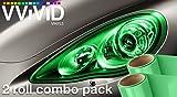 VViViD® Emerald Green Gloss Vinyl Headlight Foglight Transparent Wet Tint Wrap Self-Adhesive 12 Inch x 24 Inch 2-roll Pack