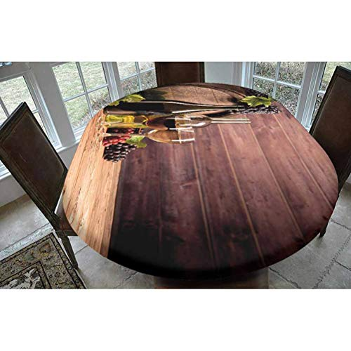 SoSung Wine Polyester Fitted Tablecloth,Still Life of Wine with Wooden Keg Rustic Concept Tasting Viticulture Oblong Elastic Edge Fitted Table Cover,Fits Oval Tables 68x48 Brown Green Light Brown