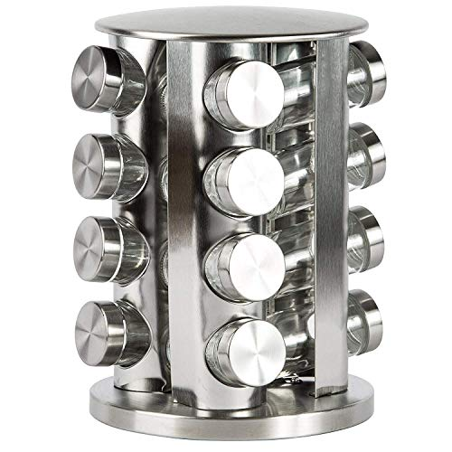 DOUBLE 2 C Revolving Countertop Spice Rack Stainless Steel Seasoning Storage Organization,Spice Carousel Tower for Kitchen Set of 16 Jars (16Jars&Lable)