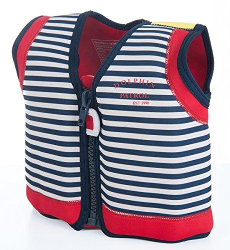 The Original Konfidence Jacket I Neopren Schwimmjacke ideal für Kinder I inkl. Baumwoll-Windel, Größe:6-7 Jahre, Design:hamptons navy stripe