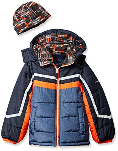 London Fog Boys' Little Active Heavyweight Jacket with Ski Cap, Super Green, 5/6