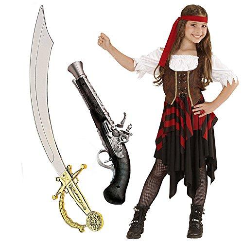 Zeus Party Costume da Piratessa (Taglia 8-10 Anni, + Spada e Pistola)