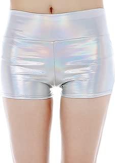 Vimoisa Women Metallic Stretch Hot Shorts Booty Yoga Pants Outfit