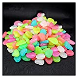 Piedras y cristales 100 PCS resplandor en las piedras oscuras Piedras brillantes Piedras brillantes fluorescentes Piedras luminosas para la decoración del jardín del acuario ( Color : Mix color )