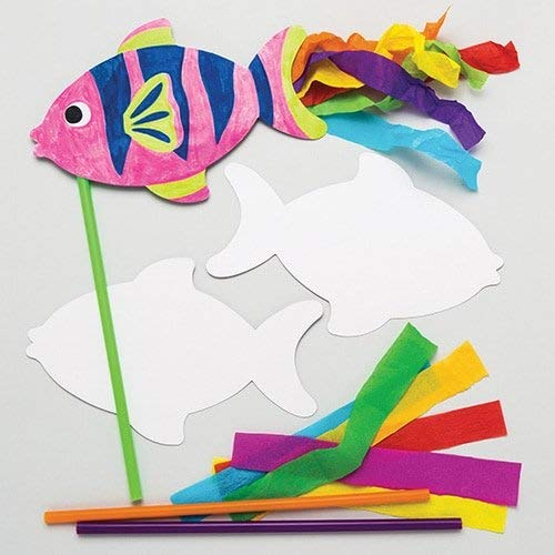 Baker Ross Fish Wand Kits (Pack of 6) For Kids To Make & Decorate