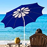 AMMSUN 7ft Beach Umbrella with Tilt Telescopic Pole and UPF 100+, Flower Vents Design and Portable Sun Shelter for Sand and Outdoor Activities, Carry Bag and Without Sand Anchor Blue/White