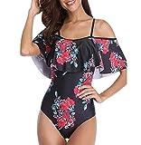 Bañador Bandeau Vientre Plano Una Pieza Traje de Baño Mujer Bañadores Playa Natacion Mujer con Volantes Bikinis de Flores con Relleno Monokini Bikini Push Up Señora Trajes de Baño Enteros Rojo XL