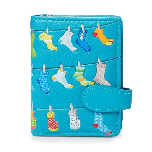 Shagwear ® Portemonnaie Geldbörse Damen Geldbeutel Mädchen Bifold Mehrfarbig Portmonee Designs: (Socken/Socks)