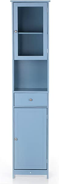 IKAYAA Tall Bathroom Cabinet Tower Cabinet With Doors And Drawer Free Standing Floor Cabinet Home Furniture Blue