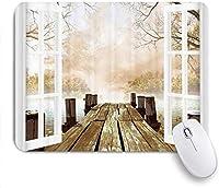 ゲーミングマウスパッド滑り止めラバーベース、風景画、木製ドックブリッジへのオープンウィンドウ、コンピュータラップトップオフィスデスク用、9.5 X7.9インチ