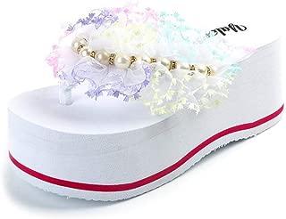 SHANLEE Women's Girls Ladies Platform Flip Flops Wedge Sandals with Handmade Flowers Slippers Thong Sandals