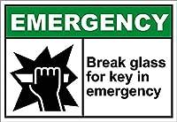 緊急事態でのキー用ガラスの破損 金属板ブリキ看板警告サイン注意サイン表示パネル情報サイン金属安全サイン