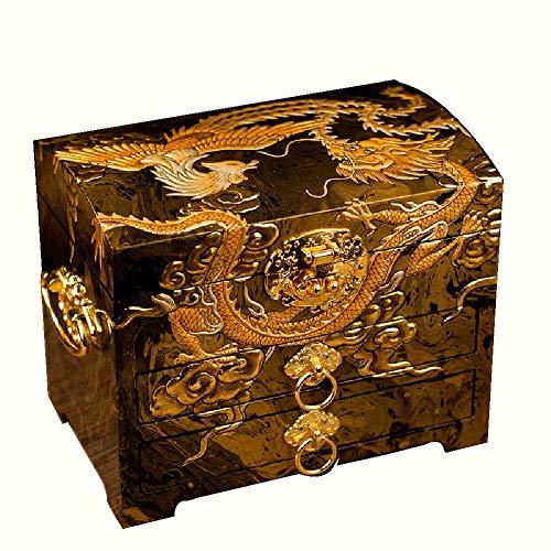 YDJGY Schmuckkästen, Klavierlack Schmuckschatulle aus Holz Schmuck Ring Ohrringe Halskette Sammlung Aufbewahrungsbox