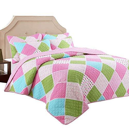 Colcha de colcha de retazos para niños Colcha / manta / manta acolchada multifunción Funda de cama de algodón súper suave para todas las estaciones con funda de almohada, rosa-individual: 180x220cm +