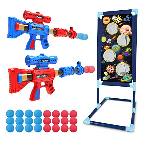LURLIN Shooting Game Toy for Age 5, 6, 7, 8,9,10+ Years Old Kids, Boys - 2pk Foam Ball Popper Air Guns & Shooting Target & 24 Foam Balls - Ideal Gift - Compatible with Nerf Toy Guns