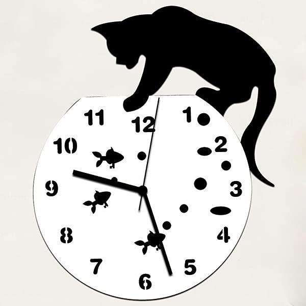 REYO 顽皮猫亚克力时钟挂钟现代设计家居装饰手表墙贴纸黑色