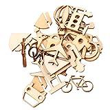 B Baosity Kit de Piezas de Madera Grabadas y Cortadas Placa Hueca Artesanal para Proyectos de Manualidades - 24pcs 23 x 21mm - 35 x 27mm