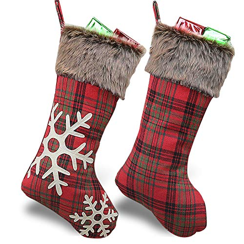 WUJOMZ Set of 2 Christmas Stockings 2019, 18 Inches Burlap with Large Plaid Snowflake and Plush Faux Fur Cuff Stockings, for Home Decor
