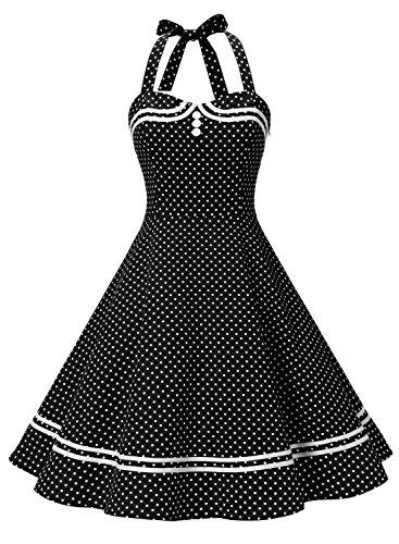 Timormode Damen Neckholder 1950er Vintage Retro Rockabilly Cocktailkleid Party Festlich Kleider 10387 Schwarz Punkte L
