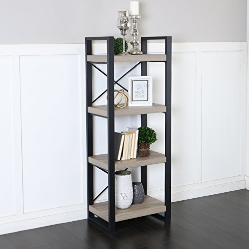 Walker Edison Furniture Company Industrial Modern Metal and Wood Bookcase Bookshelf Home Office Living Room Storage, 58 Inch, Grey,Brown