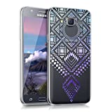 kwmobile Carcasa Compatible con Samsung Galaxy J5 (2015) - Funda Silicona TPU Azteca Azul/Violeta/Transparente