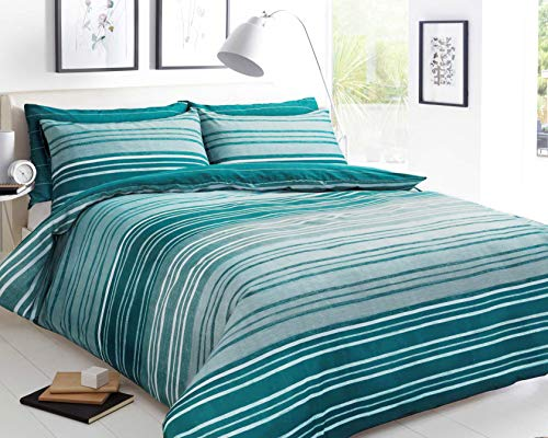 Sleepdown Textured Stripe Teal Duvet Cover & Pillowcase Set Bedding Quilt Case - King