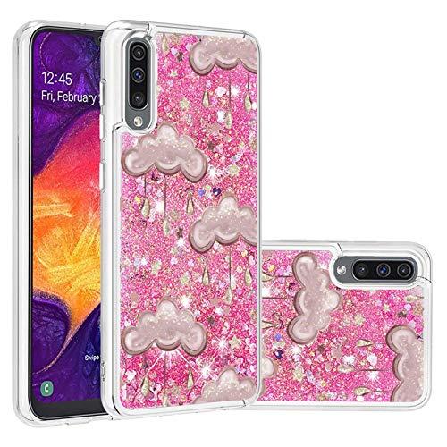 Miagon Flüssig Hülle für Samsung Galaxy A50,Glitzer Treibsand Handyhülle Glitter Quicksand Schutzhülle Bumper Case Cover,Wolke